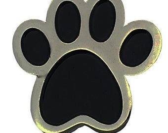 Paw Print Pet Breed Dog Cat Lover Silver and Black Enamel Lapel Pin