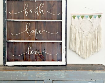 Faith Hope Love- Corinthians Bible verse- Reclaimed Barn Wood Sign- Antique Window Frame - Shabby Chic Wall Art