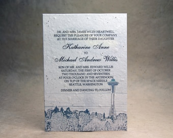 5x7 inch Custom Printed Invitation Panels - White Cotton Seed Paper Seattle Space Needle set of 6