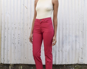 Vintage Magenta Pink 1970's High Waisted Skinny Straight Leg Cotton Pants Jeans S/M 27