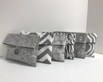 Set of 6 Bridesmaid Clutches - Gray and White - Gray Bridesmaid Gift - READY TO SHIP