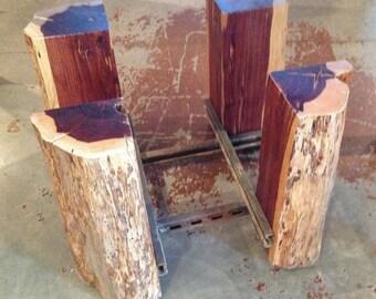 Tree Stump Coffee Table Base Reclaimed Wood Recycled Industrial Metal