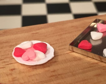 Miniature Heart Cookies on Plate, Valentine Cookies, Mini Cookies on White Plate, Dollhouse Miniature, 1:12 Scale, Miniature Food