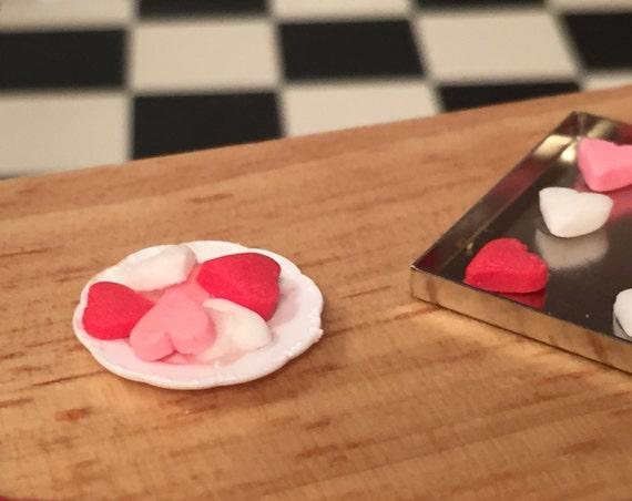 Miniature Heart Cookies on Plate, Valentine Cookies, Mini Cookies on White Plate, Dollhouse Miniature, 1:12 Scale, Miniature Food
