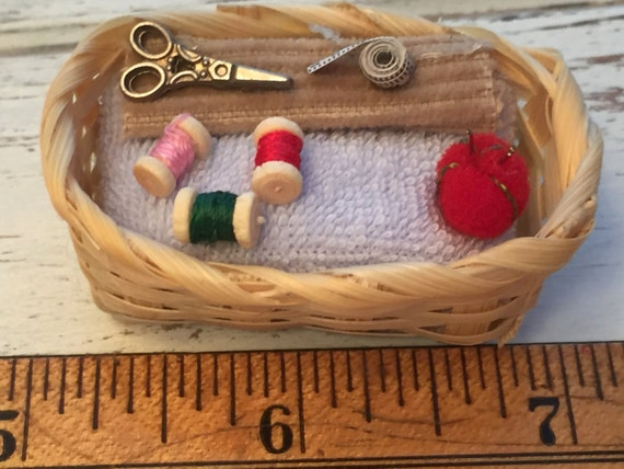 Miniature Sewing Basket With Thread, Scissors, Tape Measure & Red Pin Cushion, Dollhouse Miniature, 1:12 Scale, Mini Sewing Crafting Basket