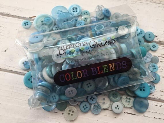 "Hand Dyed Buttons, Shades of Teal, ""Teal Ice"" ColorBlends by Buttons Galore, Style DB106, 2 Hole and 4 Hole Buttons, 1/2"" to 1"""
