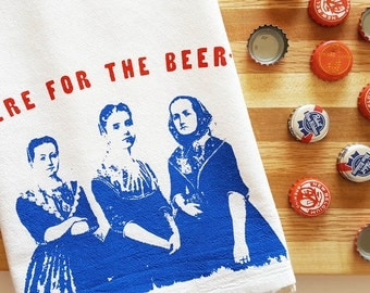 Beer Ladies Flour Sack Towel Cotton Kitchen Tea Towel Valentine's Day Funny Gift Dish Tea Towel Red Blue Nashville Wholesale