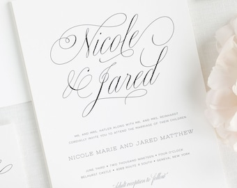 Garden Script Wedding Invitations - Sample