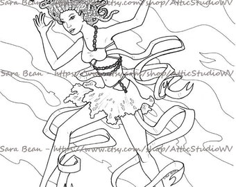 Adult Coloring Book ONE SINGLE PAGE to Color 8.5 by 11 Inches, Medusa Snake Hair Gorgon Woman Girl, Colored Pencil Ink Fantasy Mythology