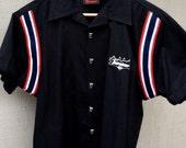 Turatao Hot Rod Garage Bowling Shirt - Embroidered Pinstripe - Tiki Buttons