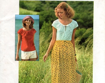 1970s Peasant Blouse & Skirt or Shorts - Vintage Pattern Simplicity 6960 - Size Small 8-10 UNCUT FF