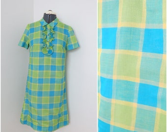Vintage 1960s Lime Green & Blue Plaid Mod Shift Dress - Womens Bust 34 - By Patty Petite Ruffle Placket