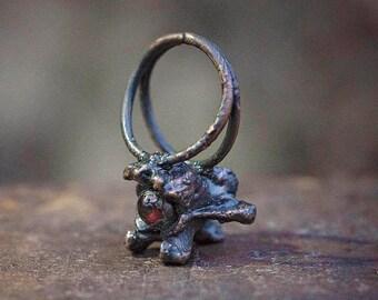 garnet + copper vertebra bone ring   Size 5.5   labradorite ring   skeleton   goth gothic ring   bone jewelry   OOAK copper ring Uruz Metals