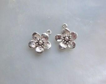 2 pcs, 10x12mm, Cherry Blossom Flower Pendant, Lightly Oxidized 925 Sterling Silver Lovely Sakura Flower Charm, PC-0023