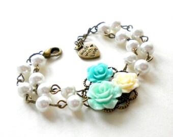 Flower Girl Gift Turquoise Bracelet Cottage Flower Bracelet Baby Girl Wedding Jewelry Flower Girl Bracelet Children Pearl Bracelet