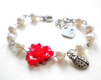 Ladybug Baby Shower Gift Girl Ladybug Bracelet Red Flower Bracelet Ladybug Birthday Gift Spring Wedding Jewelry Ladybug Theme Birthday Party