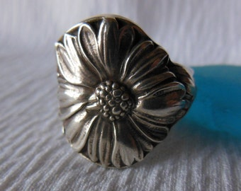 Antique Spoon Ring  Sterling Silver  Size 8   Marigold