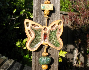 Clay Wall Hanging with Melted Glass - Two Glass Infused Leaves and Butterfly - Nine Handmade Beads - Unique Decoration - Nature Themed
