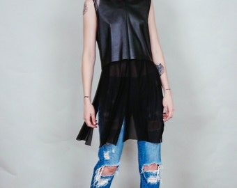 Drifter - Vegan leather tunic shirt with lace up back and mesh tails - boho rock