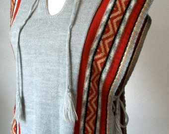 Western open tie side poncho sweater vest with tie at collar - by Pandora