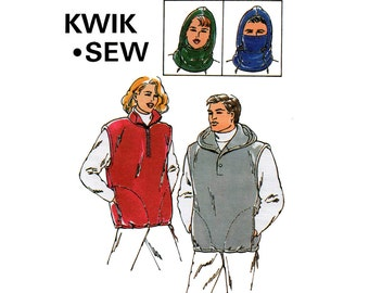 Kwik Sew 2551 Unisex Mens Womens Vests & Balaclava Hood 90s Sewing Pattern Sizes X S - XL UNCUT Master Pattern