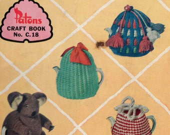 Patons C18 Knitting & Crochet Patterns Booklet Vintage 1960s Tea Cosies Dog Coat Slippers Dolls Clothes