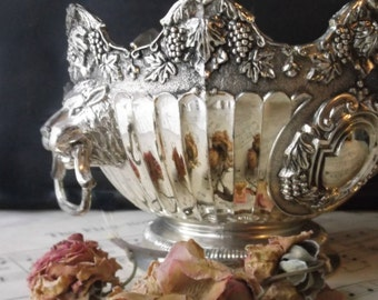 Vintage Silver Ornate Centerpiece. Pedestal Compote. Victorian Elegance. Lion Head Handles. Scalloped w Grape Motif. Wedding. Gift.