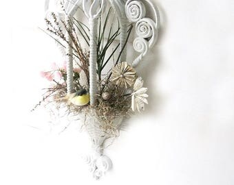 Birdcage Wall Sconce. French Shabby Chic romance Decor. Vintage White Faux Wicker Wall Planter. Spring Time Bird Nest.