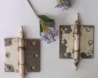 Vintage Door Hinges. Steeple Finial Hinges. Antique Door Hardware. Chippy paint. Rusty Metal Patina. Farmhouse Rustic Salvage Finds