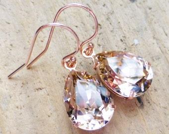 Blush Pink Swarovski Rose Gold Crystal Rhinestone Pear Teardrop Earrings, Bridesmaid Gifts, Bridal Jewelry, Wedding, Dangle, Gift for Her