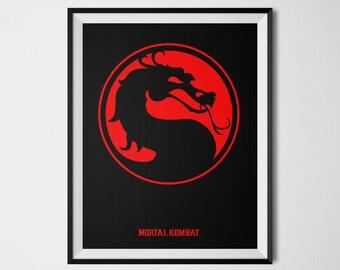 Mortal Kombat Poster, Mortal Kombat Print, Mortal Kombat Minimalist, Mortal Kombat Wall Art, Video Game Decor, Sub-zero, Liu Kang, Arcade
