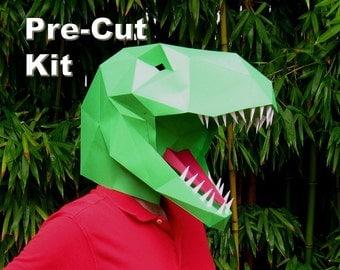 Dinosaur Mask - Pre-Cut T-Rex Mask Kit - Build a Tyrannosaurus with just Glue! | Paper Mask | DIY Mask | Halloween Mask | Dinosaur Costume
