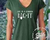 Life is a Garden Ladies' Triblend V-Neck T-Shirt- gardening, gardener, garden gift, garden shirt, landscaper, women's v-neck