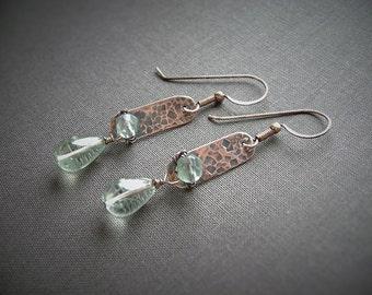 Wire Wrapped, Bar Earrings, Green Earrings, Fluorite Earrings, Copper Jewelry, Gemstone Jewelry, Handmade Earring, Mint Green, Textured, 973