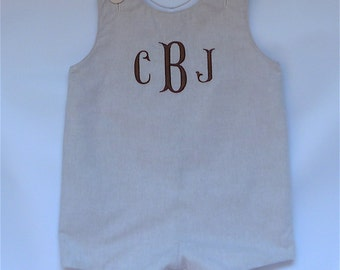 Baby Boy Traditional Romper Khaki Chambray  with Embroidered Monogram 3 months - 4T