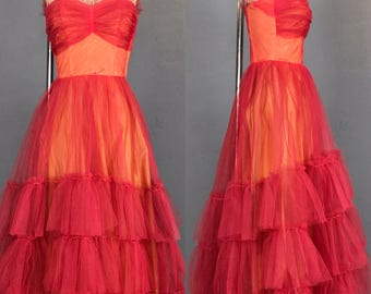 50's red tulle prom dress small DR21355