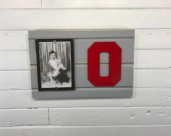 "Ohio State University Buckeyes picture frame holds 4""x6"" photo, decor"