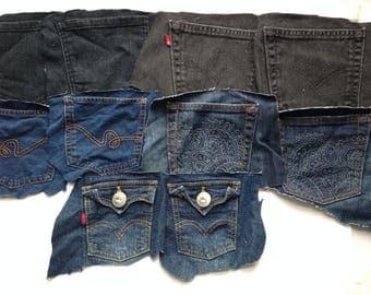 Denim Jeans Pockets - Craft Supplies - Set of 10 Pockets - Lucky Brand - Black Denim - Destash Supply - Surplus Upcycle and Repurpose