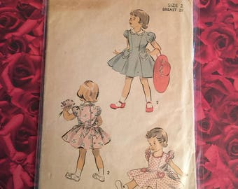 40's Vintage Girls Advance Sewing Pattern