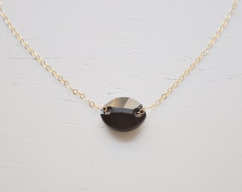 Jet Black Crystal Necklace Necklace - oval swarovski crystal gem stone gold filled or sterling silver simple handcrafted jewelry gift