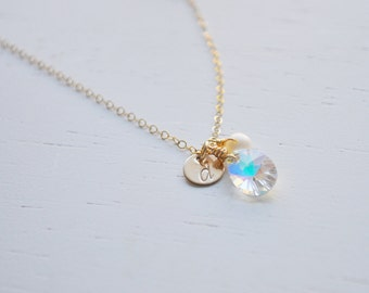 Initial Crystal Cluster Necklace - rainbow swarovski teardrop charm gold disc freshwater pearl on gold filled chain simple dainty jewelry