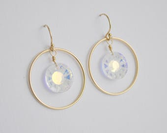 Sun Crystal Circle Earrings - swarovski crystal AB handcrafted gold filled hoop dangle french hook wedding and sparkle aurora borealis