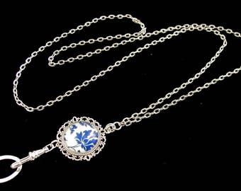 CLERARANCE-Pretty Lanyard, Necklace Lanyard, ID Badge Holder, Blue Flower Lanyard, Badge Necklace, Breakaway Lanyard, Silver Lanyard