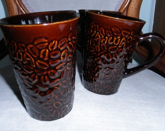 Set of Four Kahlua Coffee Drink Mugs, Raised Coffee Bean Motif, Dark Brown