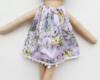 Handmade cloth doll with teddy bear. Heirloom. Fabric doll. Tiny bear.