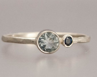 Aquamarine and Sapphire Alternative Engagement or Right Hand Ring in 14k White Gold - Ready to ship in size 6
