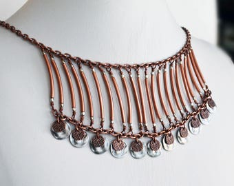 Tribal Necklace Bohemian Necklace Copper Necklace Bib Necklace Womens Necklace Hippie Necklace Boho Necklace Tribal Jewelry Copper Jewelry