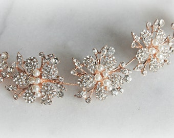 Rose Gold Crystal Headband, Hair Vine, Boho Wreath, Rhinestone Bridal Headpiece, Pearl Hair Vine - SIENNA