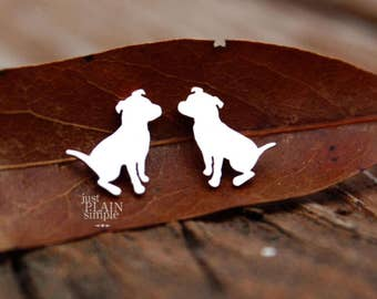 Pit bull earrings, sterling silver, tiny silver hand cut dog post stud earrings with heart,