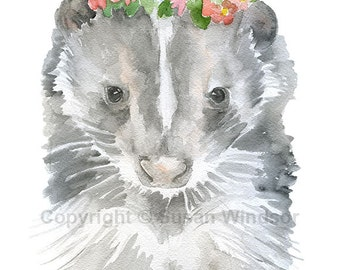Watercolor Skunk Floral Painting Giclee Print - 5 x 7 - Nursery Art - Girls Room Wall Decor